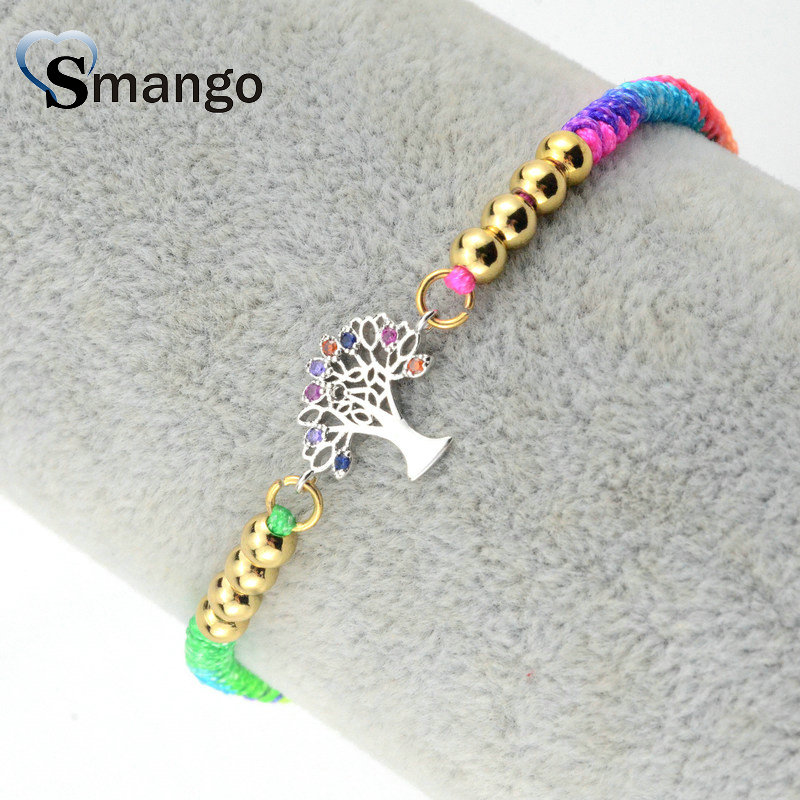 Women CZ Bracelet Fashion Jewelry 2019 New Arrival Wishing Tree Shape Four Colors Can Wholesale 5pcs in Chain Link Bracelets from Jewelry Accessories