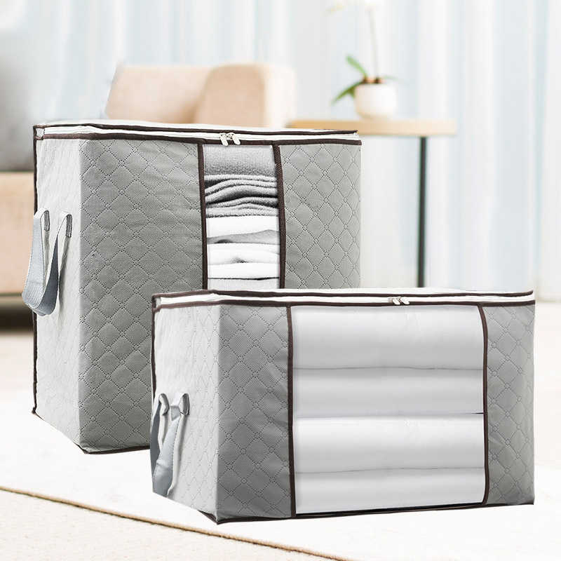 Gray Foldable clothes blanket quilt Storage Bag Organizer Non-Woven Save Space under bed closet  zipper Storage Dustproof bag