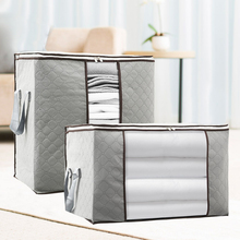 цена на Gray Foldable clothes blanket quilt Storage Bag Organizer Non-Woven Save Space under bed closet  zipper Storage Dustproof bag