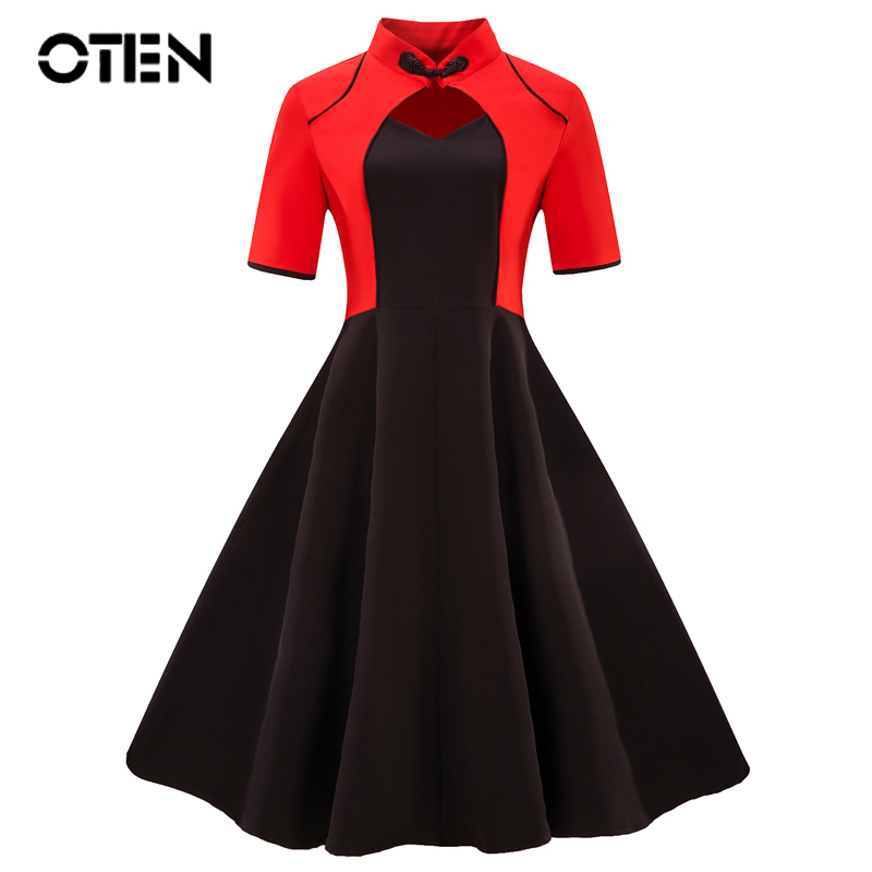 OTEN Plus size 4XL Chinese style Faux Jacket One Piece Summer 2018 Womens sexy Hollow out Rockabilly Vintage pin up skater dress