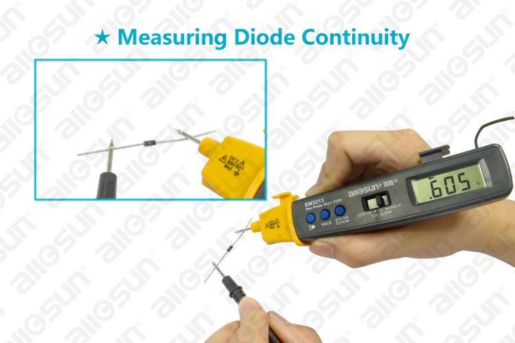 ALL-SUN EM3213 Auto Range Pen Style Digital Multimeter DMM AC DC Volt Amp Ohm Integrated Automotive Tester