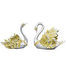 2019 Vintage Couples Swan Ornaments Retro Style Nordic Statue Key Jewelry Storage Tray Desktop Decoration Miniatures Crafts