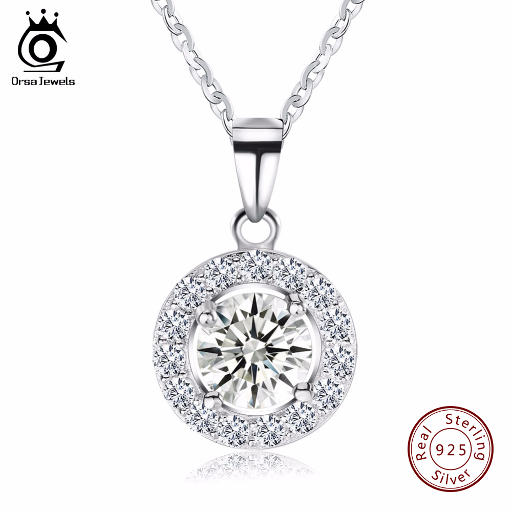 ORSA JEWELS 925 Sterling Silver Luxury Big Size AAA Austrian Cubic Zirconia Long Chain Pendants Necklaces Jewelry For Women SN43 цены онлайн