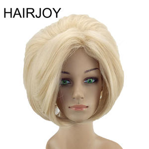 HAIRJOY White Women Synthetic Hair Wig Blonde  Short Straight Full Wigs Daily Heat Resistant Free Shipping