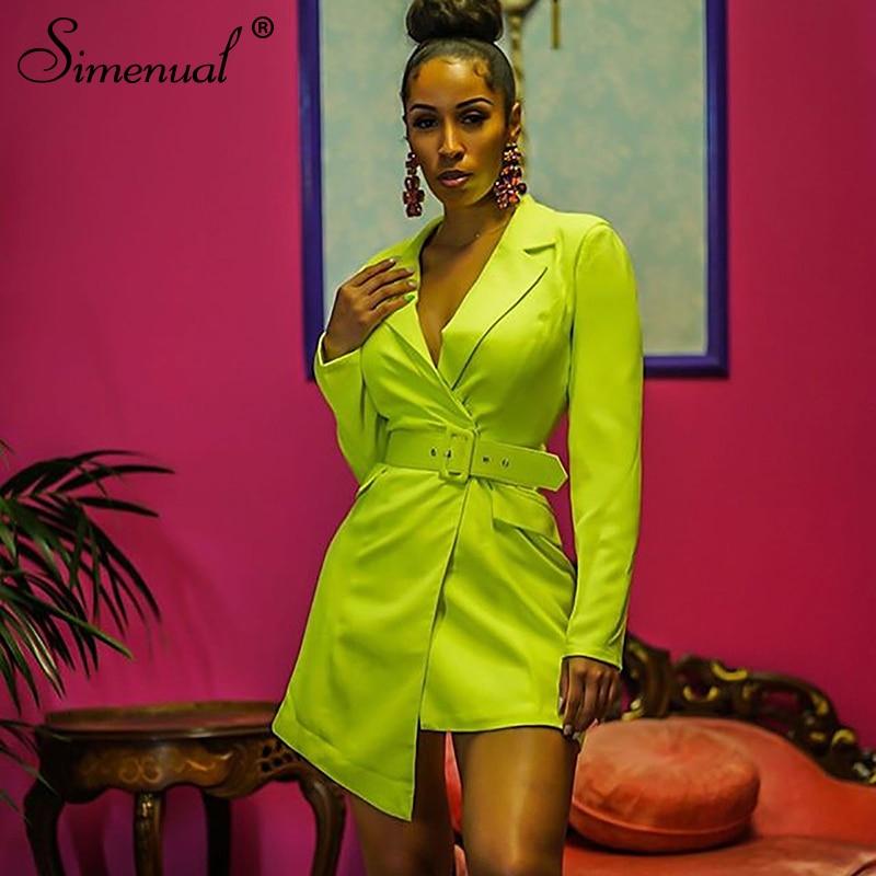 Simeual Slim Neon Green Womens Blazers Long Sleeve Elegent Solid Sashes Jackets 2019 Autumn Fashion Ladies V Neck Long Blazer