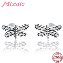 MISSITA 100% 925 Sterling Silver Mini Dragonfly Earrings For Women Jewelry Brand Wedding Stud HOT SELL Gift