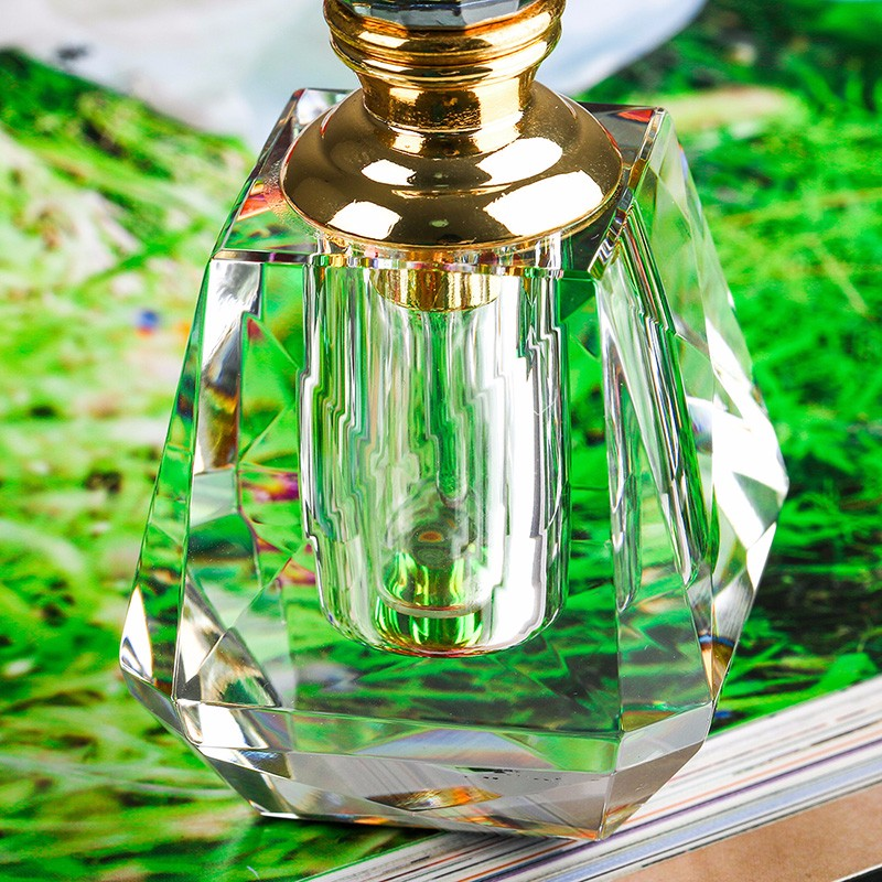 3ML Clear K9 Crystal Refillable Woman Perfume Bottle Vintage Arc-shaped Aurora Borealis Empty Container wgold Trim Glass Dauber (2)
