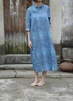 New Design Blue Cotton Linen Autumn Dress Women Robe Chinese Vintage Dresses Cheongsam Qipao Ethnic Vestidos