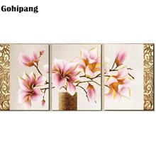 No Frame 3pcs Print Canvas Wall Art Orchids Decoration Oil Painting Modular Pictures On The For Home