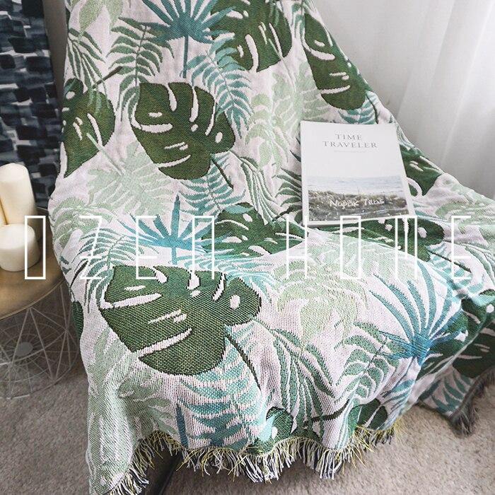Broderie botanique feuille décoration pondérée Chunky tricot couverture arc-en-ciel gland Siesta tapis couverture Ins couverture Aircondition