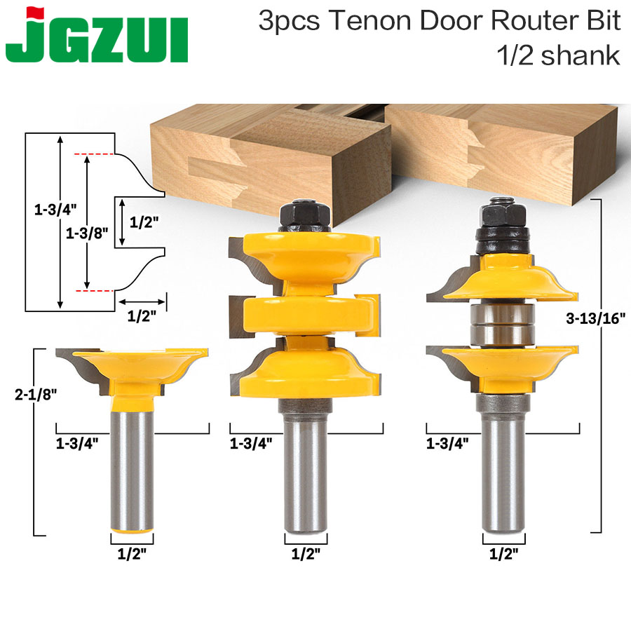 "3 Pc 1/2"" Shank Entry & Interior Door Ogee Matched R&S Router Bit"