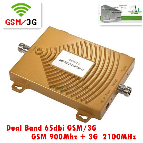 Chaud! 65 dbi double bande booster GSM 900 Mhz Booster + 3G WCDMA 2100 Mhz répéteur double bande répéteur gsm 3G booster gsm wcdma répéteur