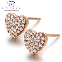 Robira Fashion Classic Gold Color Diamond Stud Earring Solid 18K Rose Gold Warm Heart Women S