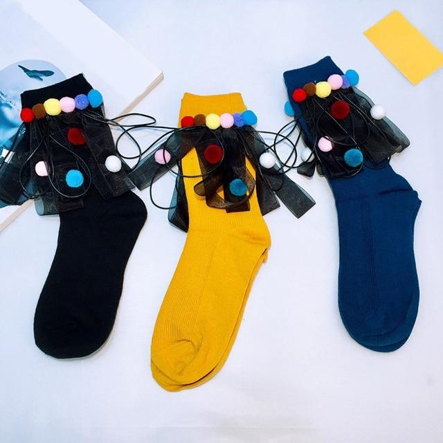 Handmade Street Fashion Socks Women Girls Cotton High Socks Colorful Pom Pom Ribbon Socks Sokken 2018 Spring New Japanese Style 3