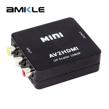 Amkle Mini AV HDMI Video Dönüştürücü Kutusu AV2HDMI RCA AV HDMI CVBS HDMI adaptörü HDTV TV için PS3 PS4 PC DVD Xbox Projektör