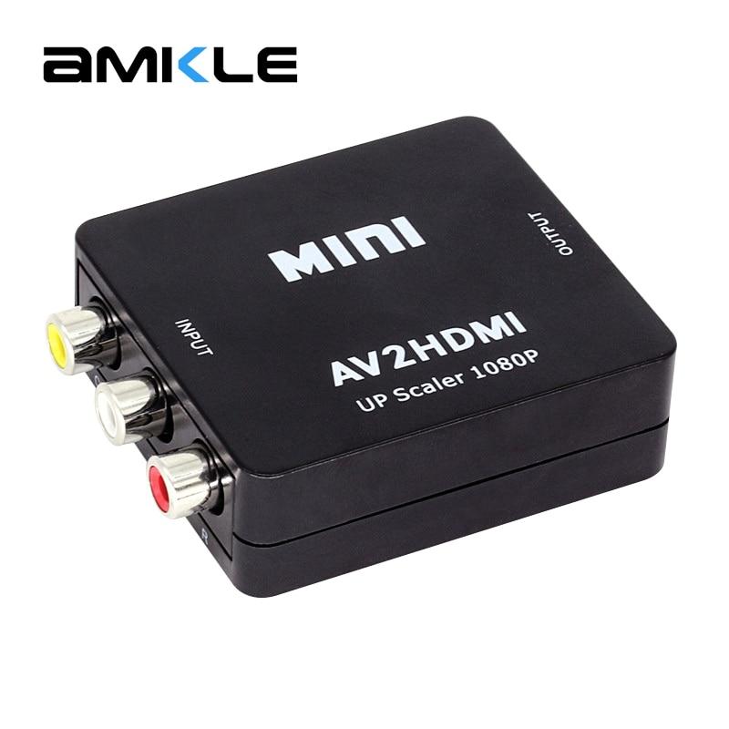 Amkle Mini AV to HDMI Video Converter Box AV2HDMI RCA AV HDMI CVBS to HDMI Adapter for HDTV TV PS3 PS4 PC DVD Xbox Projector tv to pc adapter cvbs s component av to vga converter watch tv on vga monitor lcd projector mt viki tp02