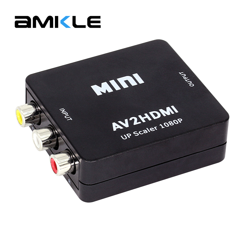 Amkle Mini AV to HDMI Video Converter Box AV2HDMI RCA AV HDMI CVBS to HDMI Adapter for HDTV TV PS3 PS4 PC DVD Xbox Projector