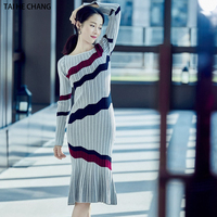 High Quality Women Runway New Fashion Designer Autumn and Winter Knitted Pullovers Formal Mermaid Sweater Dress