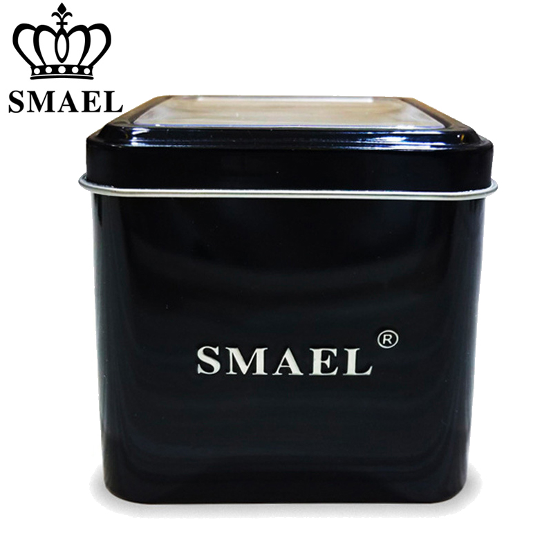 SMAEL 1Pcs Original Gift Box For Sport Watches Men Watch Accessory LED Digital Watch Box Protection Sqaure Boxs 12 Watch Store
