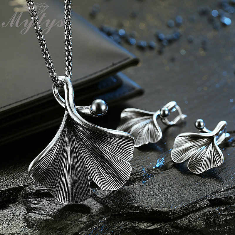 Mytys Retro Silver Grey Ginkgo Leaf Jewelry Sets Antique Thai Silver Necklace Earrings Ring Sets Hot Sale Fashion Women Jewelry