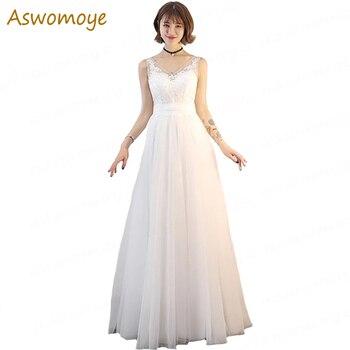 Wedding Dress 2019 Sexy V-neck Sleeveless Appliques Flower a Line Bridal Dresses Floor Length Custom Size Robe De Mariage Wedding Dresses