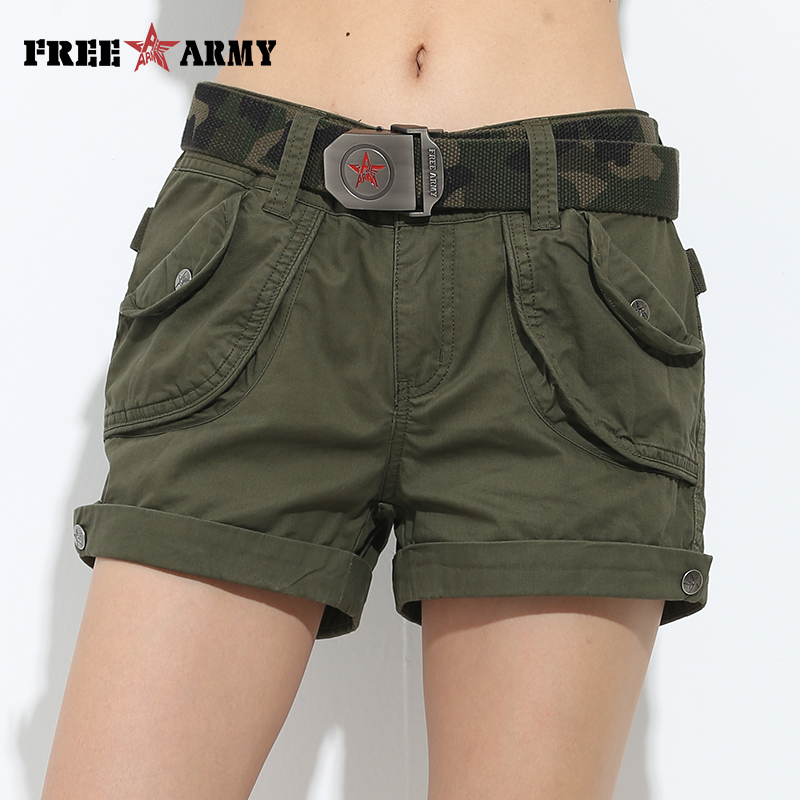 Brand Laides Shorts Kvinner Casual Shorts Løse Lommer Zipper Military Army Green Stor Størrelse Sommer Kvinner Shorts Outdoors No Belt
