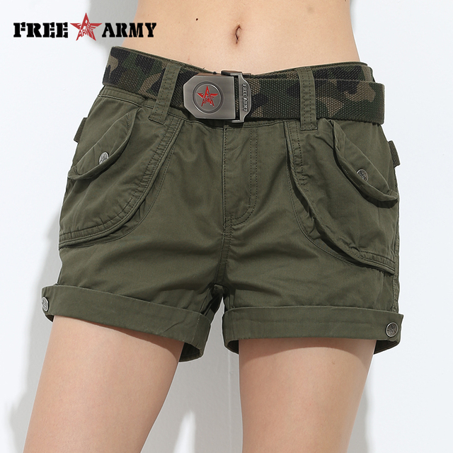 Brand Laides Shorts Women Casual Shorts Loose Pockets Zipper Military Army Green Large Size Summer Women Shorts Outdoors No Belt
