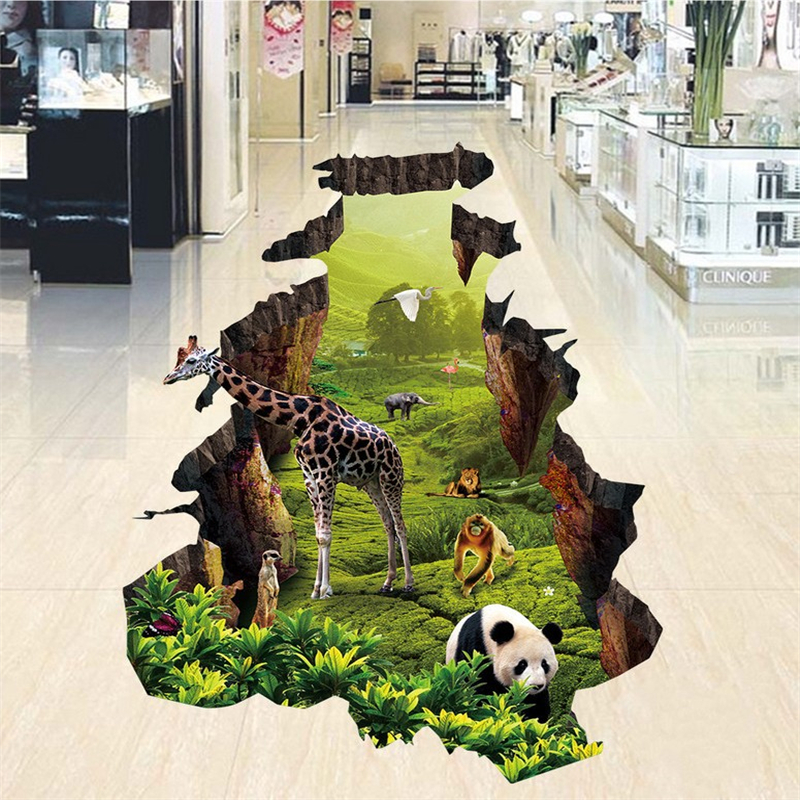 beibehang Animal World Panda 3D floor painting bathroom mural non-slip waterproof thickened self-adhesive PVC Wallpaper flooring beibehang 3d mural flooring pvc adhesive paper fish non slip waterproof thickening self adhesive fresco floor fototapete 3d