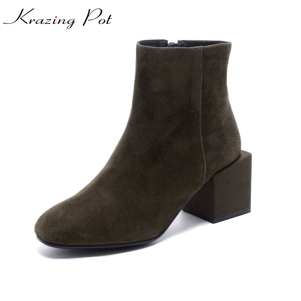 Krazing Pot sheep suede streetwear thick high heel nightclub solid gladiator pointed toe women model work safety ankle boots L2A krazing pot empty after shallow shoes woman lace work flats pointed toe slip on sheep suede causal summer outside slippers l16