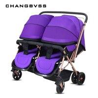 Высокое Качество Близнецов Детские коляски на пейзаж коляска Портативный складной коляски для новорожденных сидеть и лежать коляска bebek