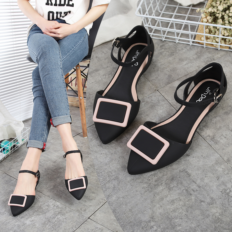 Rouroliu Women Sweet Fashion Pointed Toe Shallow Flats Sandals Jelly Rain Shoes Comfortable Non-Slip Beach Shoes Woman RB131
