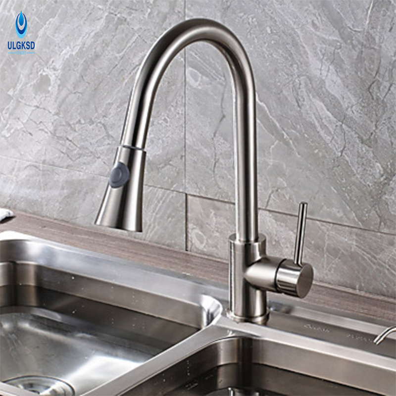Ulgksd Brushed Nickle Kitchen Faucet Pull Out Down SprayerAll Around Rotate Deck Mount Kitchen Sink Faucet