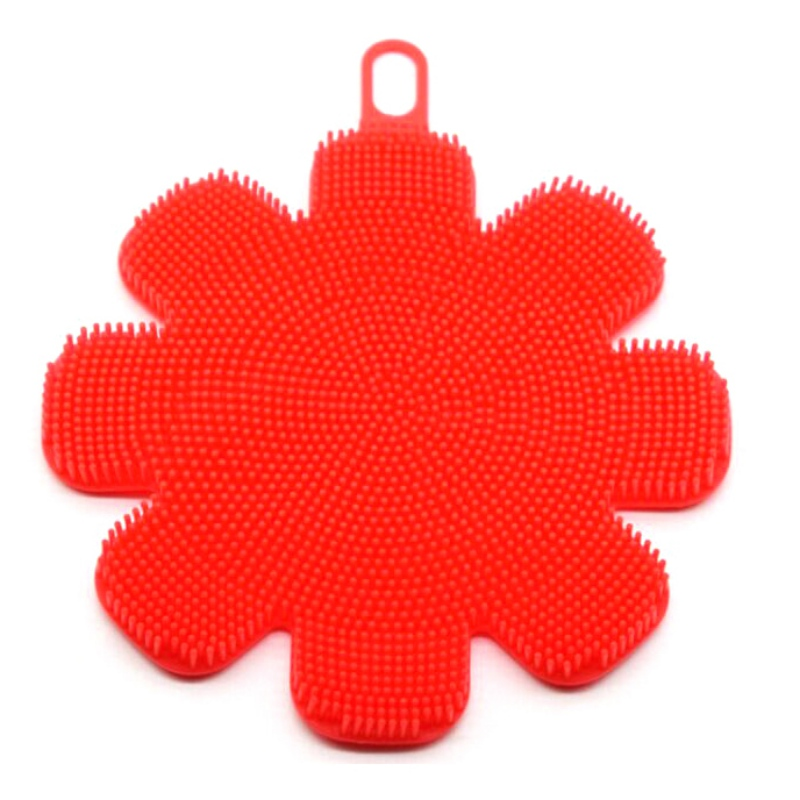 Color flower silicone dish food grade brush Multicolor optional 2018 creative household cleaning appliances