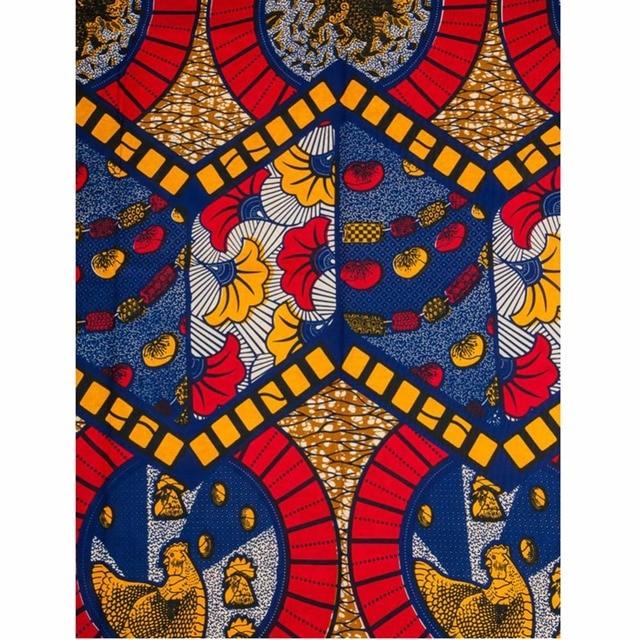 Afrikanischen Wachsdruckgewebe Design Blau Rot Gelbe Blätter Huhn ...