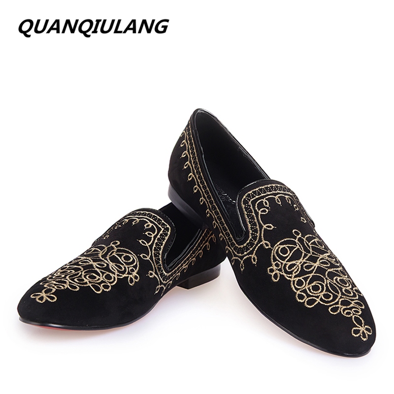2016 New Fashion Embroidery Genuine Leather Man Shoes Handmade Wedding and Party Male Loafers Men Flats Size 39-47 Free Shipping men mixed color shoes 2017 new genuine leather fashion men s flats prom male loafers slip on party wedding shoes size 6 15
