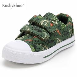 KushyShoo dziecięce buty Cartoon dinozaur drukowane podwójny haczyk i pętla dziecięce trampki dziewczyna chłopiec trampki dla małego dziecka brezentowych butów w Trampki od Matka i dzieci na
