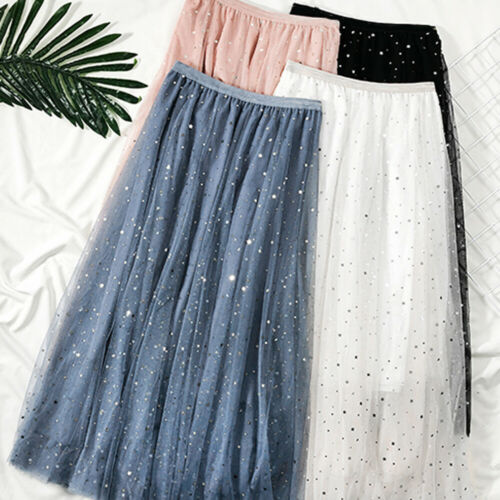 2020 New Women High Waist Pleated Skirt Long Skirt Swing Star Moon Tulle Fairy Summer Outwear