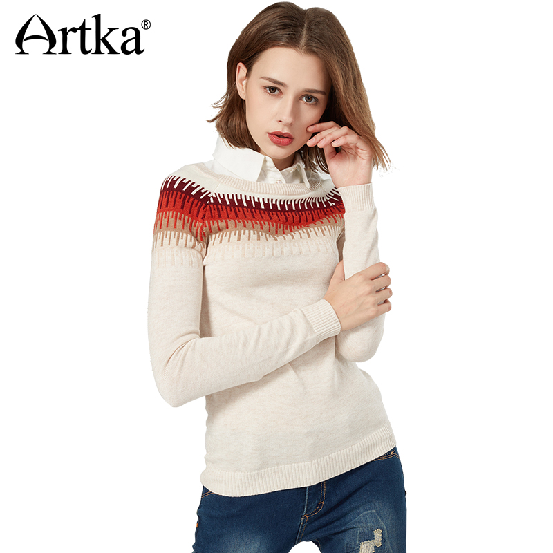 Artka Autumn Pullover Sweater For Women 2018 Vintage Jumper Detachable Shirt Collar Knitted Sweater Women Wool Pullover YB12669Q giraffe flat knitted pullover sweater