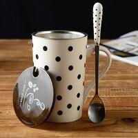 330 ml Nieuwigheid Dier Koeien Lijnen Dot Mok met Rvs Filter & Lepel Leuke Relatiegeschenk Kantoor Drinkware Melk koffie