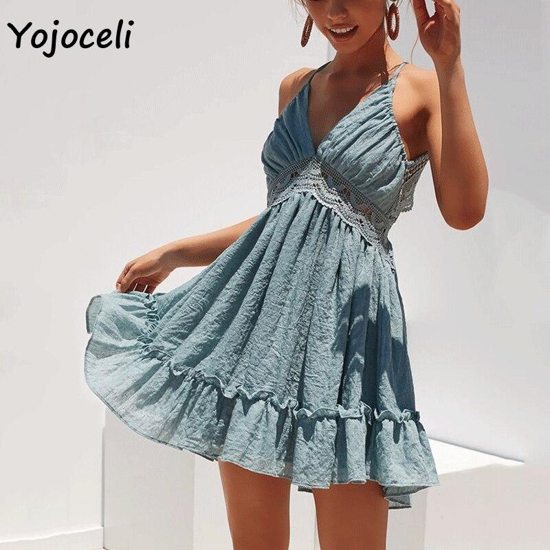 Yojoceli 2018 sexy crochet dentelle robe femmes boho plage volants robe streetwear d'été dos nu short mini robe bain de soleil femme