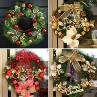 1PC Christmas Wreath Garland Hanging Pendent Xmas Ornaments Window Door Decor Christmas Decoration For Home S3