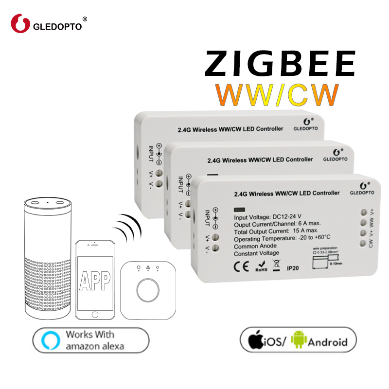 GLEDOPTO ZIGBEE link light zll WW/CW led strip controller dc12-24v 360W smart app control work with Amazon Echo osram gateway zigbee zll link smart strip light rgb rgbw controller dc12v 24v zigbee rgb app control compatible with led echo gledopto led rgb