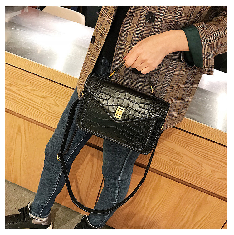 MJ Women Messenger Bag Fashion Crocodile Pattern PU Leather Female Small Handbag Tote Bags Crossbody Shoulder Bag for Girls (15)