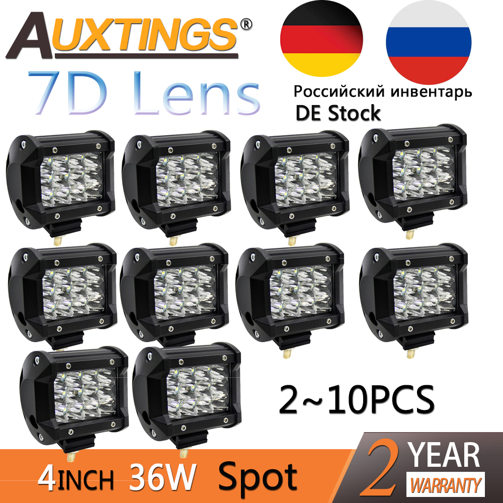 Auxtings Offroad 2~10PCS 4INCH 36W LED Work Light Bar Spotlight 12V 24V CAR TRUCK SUV ATV 4X4 4WD TRAILER WAGON PICKUP DRIVING