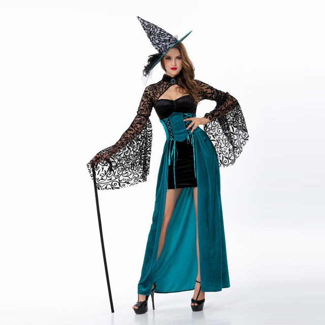 Enchantress Costume Adult Women Green Witch Costume Black Floral Lace Flare Sleeves Emerald Corset Dress Halloween  sc 1 st  AliExpress.com & Enchantress Costume Adult Women Green Witch Costume Black Floral ...