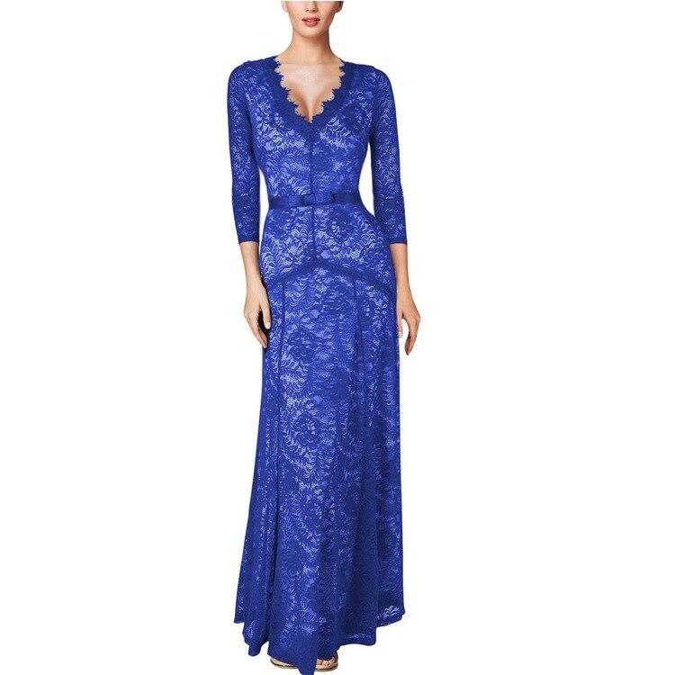 longueur Soirée Manches De Col Élégant Plancher D'été Backlakegirls V Bleu Robes Theer Longues Robe Appliques Blue En Trimestre HDI2WE9Y