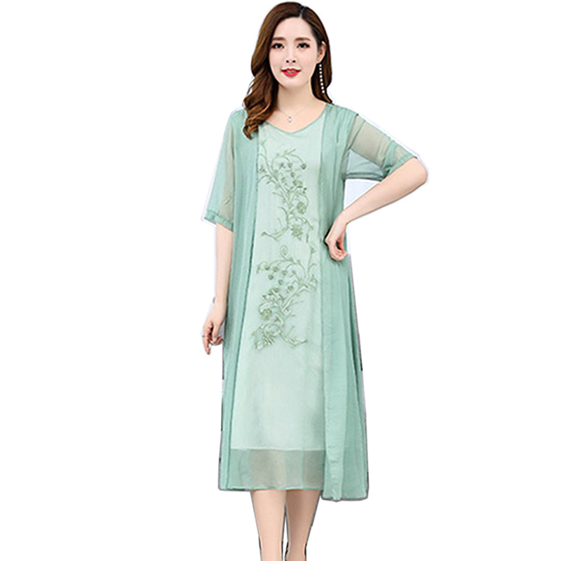 Faux 2 pièces Sexy broderie fleur robe femme en mousseline de soie O cou grande taille robes d'été mode douce nouvelle longue robe Vestidos