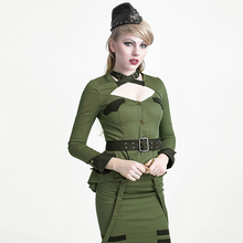 Punk Military Style Shirts Tops for Women Cosplay Uniform Style Long Sleeve Shirt Visual Kei Blouses