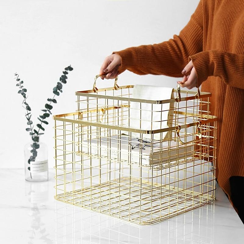 Nordic Luxury Iron Landry Storage Basket Metal Magazine Newspapers Bottle Holder Bathroom Organizer Tools Home Decor Accessories