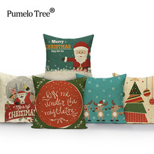 Christmas Cushion Cover Santa Claus Pattern Square Pillow Case Sofa Home Decorative Pillow Christmas Almofadas Cojines(China)